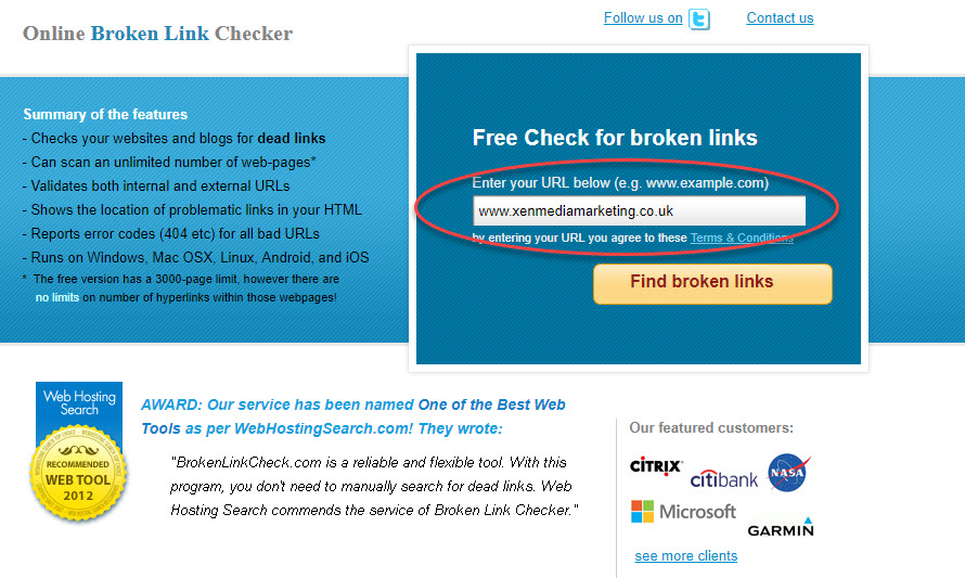 enter webpage into search bar to check broken web links