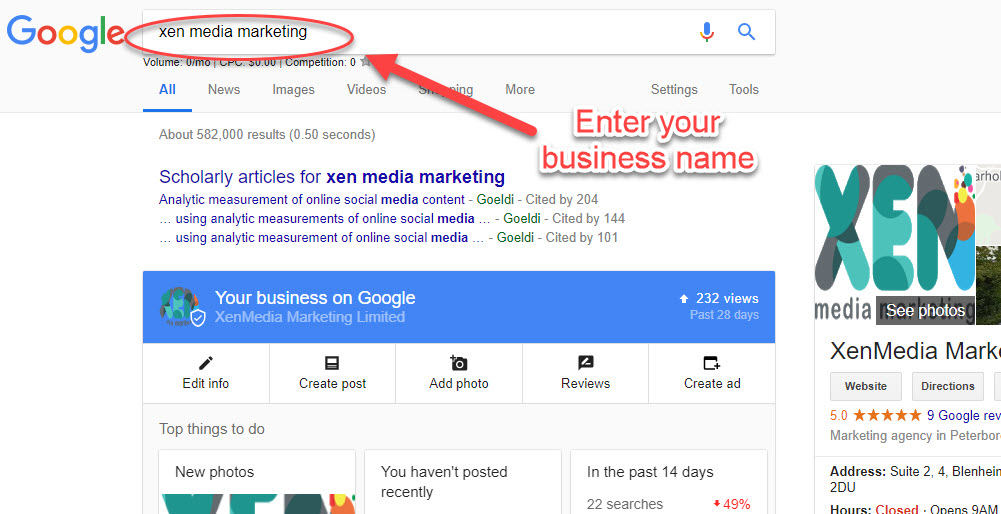 enter your business name into google