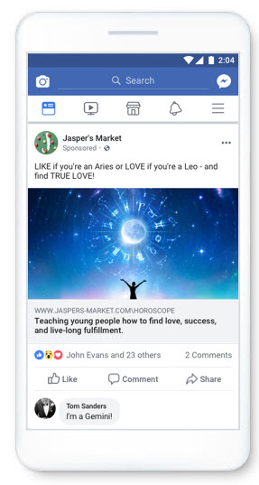 example spammy facebook ad