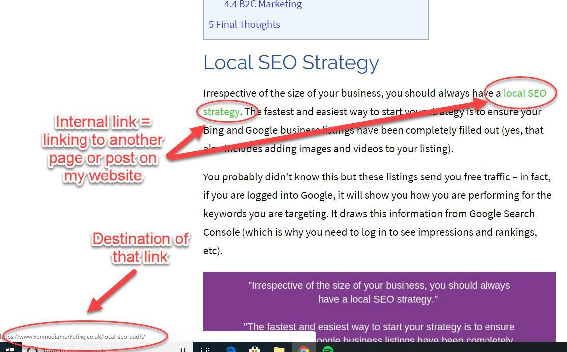 make sure you include internal links